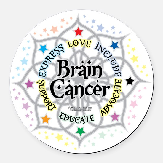 Brain-Cancer-Lotus Round Car Magnet