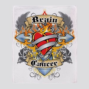 Brain-Cancer-Cross--Heart-blk Throw Blanket