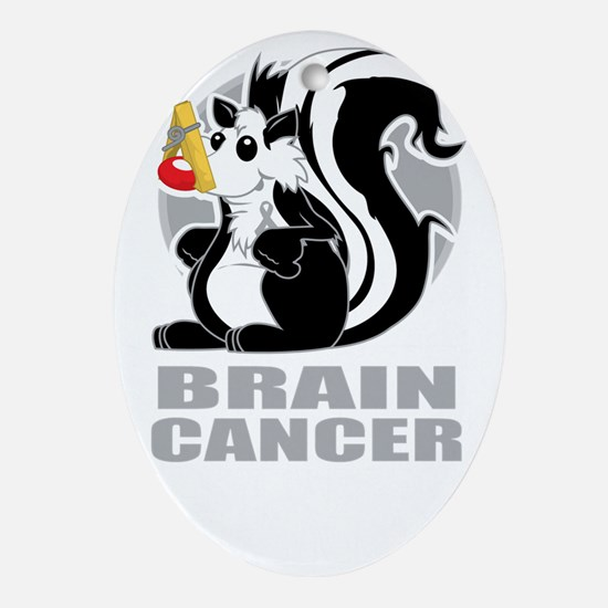 Brain-Cancer-Stinks-blk Oval Ornament