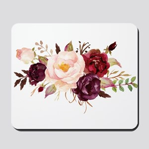 Burgundy Red Pink Roses Floral Mousepad