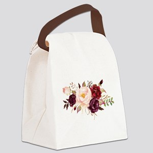 Burgundy Red Pink Roses Floral Canvas Lunch Bag