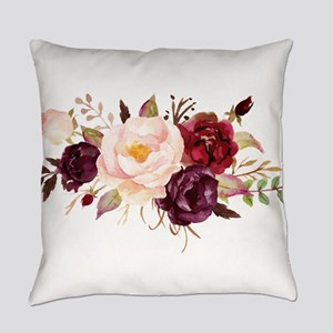 Burgundy Red Pink Roses Floral Everyday Pillow