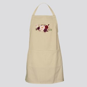 Burgundy Red Pink Roses Floral Light Apron