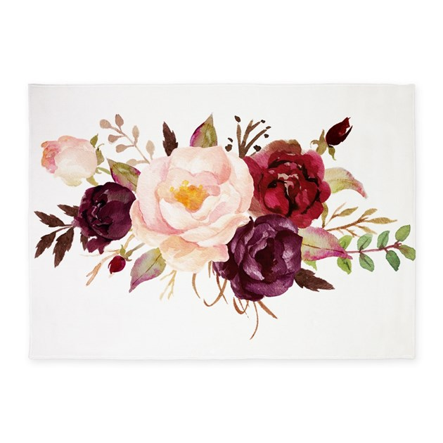 Maroon Garden Ideas: Burgundy Red Pink Roses Floral 5'x7'Area Rug By Fractal_vicky