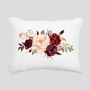 Burgundy Red Pink Roses Floral Rectangular Canvas