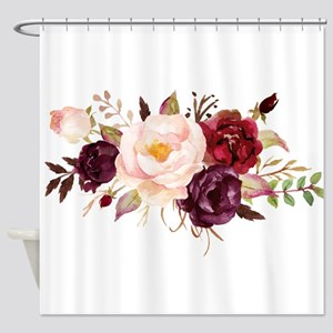Burgundy Red Pink Roses Floral Shower Curtain