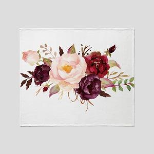 Burgundy Red Pink Roses Floral Throw Blanket