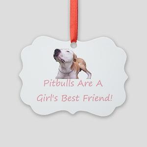 Pitbulls are a girls best friend Picture Ornament