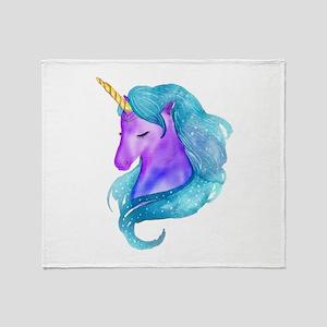 Golden Horn Unicorn Throw Blanket