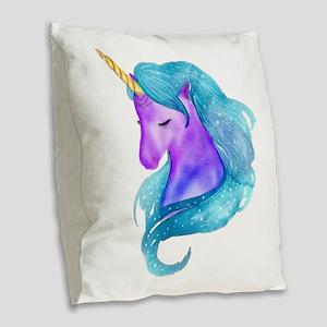Golden Horn Unicorn Burlap Throw Pillow