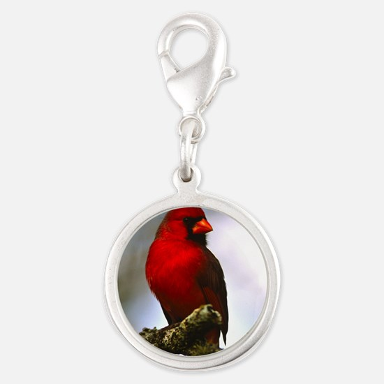Cardinal Silver Round Charm