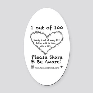 1 out of 100 black Oval Car Magnet