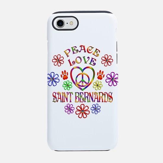 Peace Love Saint Bernards iPhone 7 Tough Case
