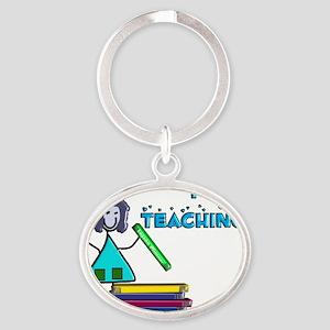 I Love Teaching Oval Keychain