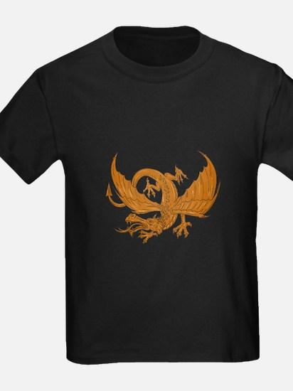 Aggressive Dragon Crouching Drawing T-Shirt