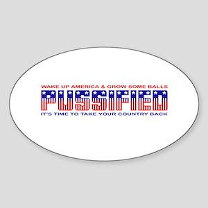 Pussified America Oval Sticker