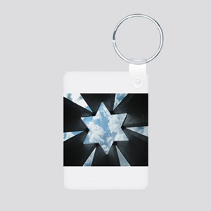 Jewish Star Aluminum Photo Keychain