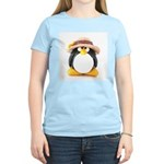 Sunflower Hat Clay Penguin Women's Pink T-Shirt