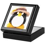 Sunflower Hat Clay Penguin Keepsake Box