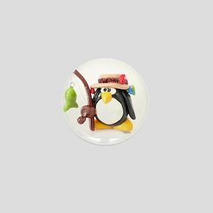 Clay Fishing Penguin Mini Button