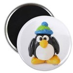 Clay Green Beanie Penguin Magnet