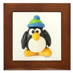 Clay Green Beanie Penguin Framed Tile