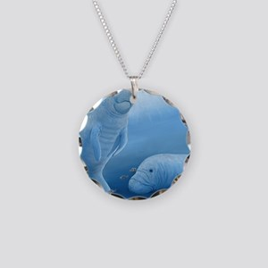 manatee haven square Necklace Circle Charm