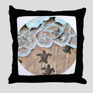 Race To The Sea round Throw Pillow