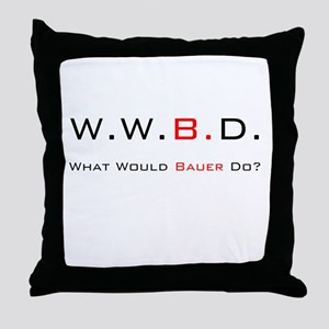 White with Black/Red Throw Pillow