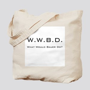 White with Black Tote Bag