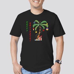 2-ChristmasPalmtree Men's Fitted T-Shirt (dark)