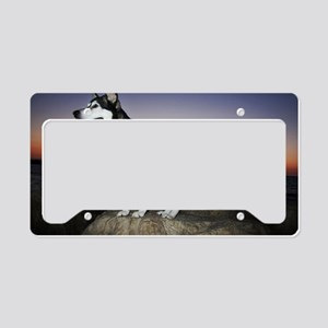 alaskan_malamute_dog_at_sunse License Plate Holder