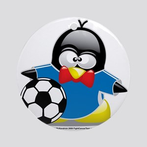Penguin-Soccer Round Ornament