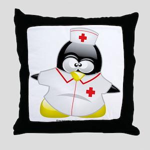 Nurse-Penguin Throw Pillow