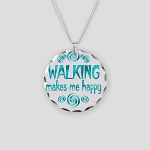 WALKING Necklace Circle Charm
