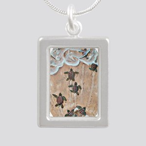 2-Race To The Sea oval c Silver Portrait Necklace