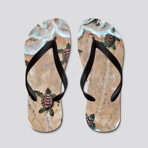 2-Race To The Sea oval copy Flip Flops
