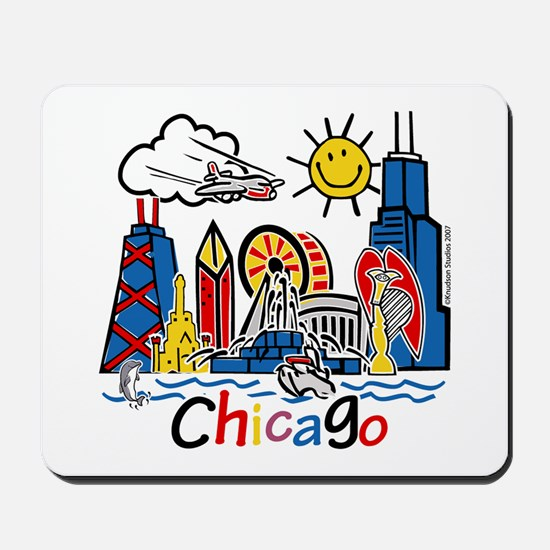 Chicago Cute Kids Skyline Mousepad