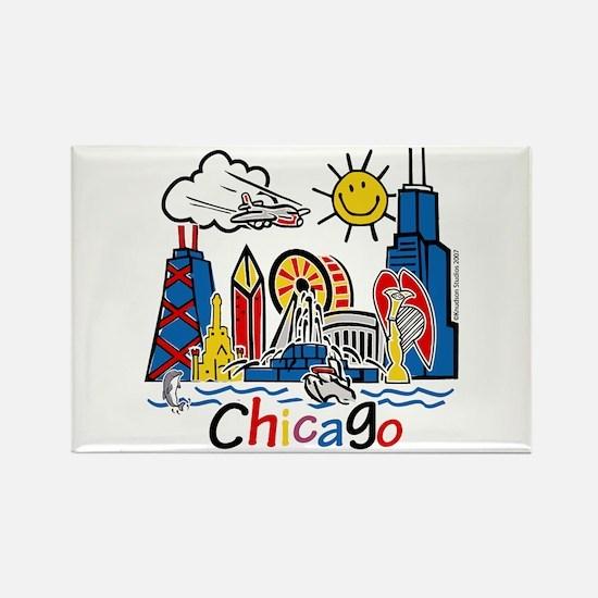 Chicago Cute Kids Skyline Rectangle Magnet