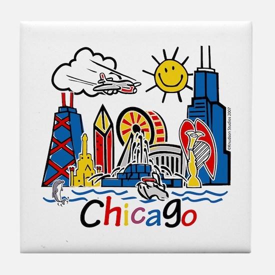 Chicago Cute Kids Skyline Tile Coaster
