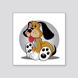 "Diabetes-Dog-blk Square Sticker 3"" x 3"""