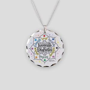 Juvenile-Diabetes-Lotus Necklace Circle Charm