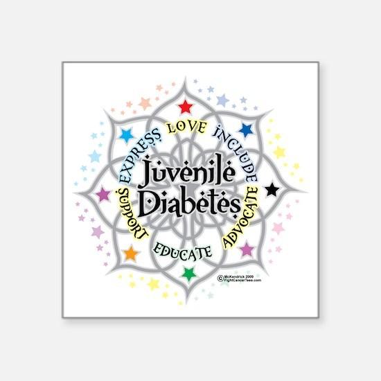 "Juvenile-Diabetes-Lotus Square Sticker 3"" x 3"""