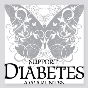 "Diabetes-Butterfly Square Car Magnet 3"" x 3"""