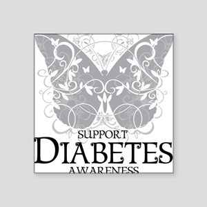 "Diabetes-Butterfly Square Sticker 3"" x 3"""