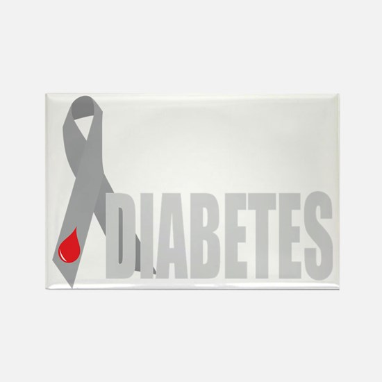 Cure-Diabetes-Ribbon-BLK Rectangle Magnet