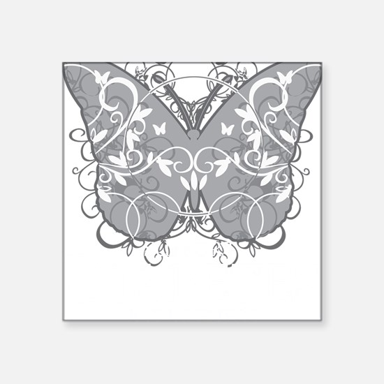 "Diabetes-Butterfly-blk Square Sticker 3"" x 3"""
