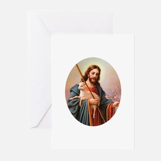 Jesus - Shepherd with Lamb Greeting Cards (Package