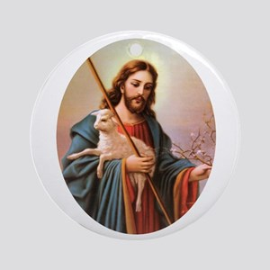 Jesus - Shepherd with Lamb Ornament (Round)