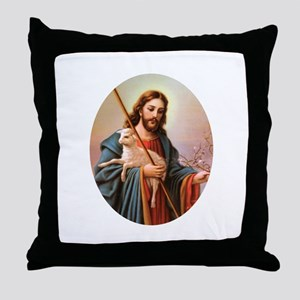 Jesus - Shepherd with Lamb Throw Pillow
